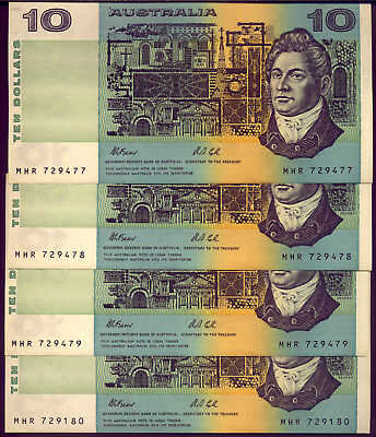 4 x  $10 NOTES: FRASER and COLE  aUNCIRCULATED and NO RESERVE
