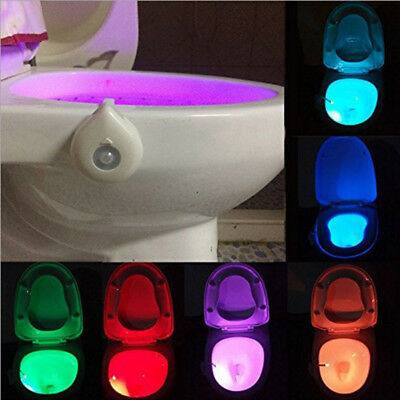 8 Color Human Body Motion Activated Seat Sensor LED Toilet Bowl Night Light Lamp