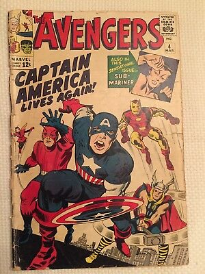 Avengers #4 Captain America Marvel Comic 1964 Poor Condition