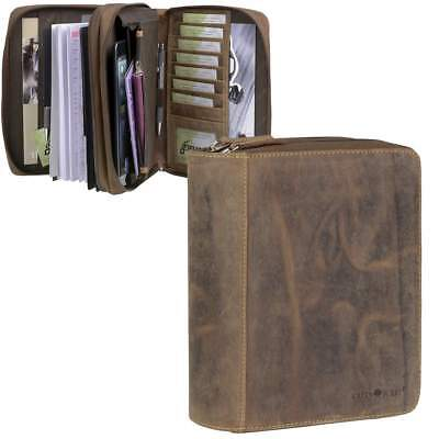 Greenburry Personal Organizer Organiser A5 Leather Brown Vintage + Business Card