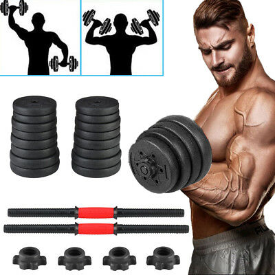 66LB Weight Dumbbell Set Adjustable Cap Gym Barbell Plates Muscle Body Building