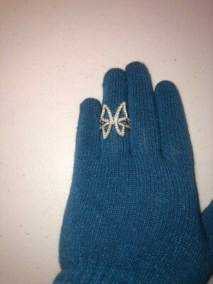 Avon silver butterfly ring size 8 cubic zirconia clear stones white channel