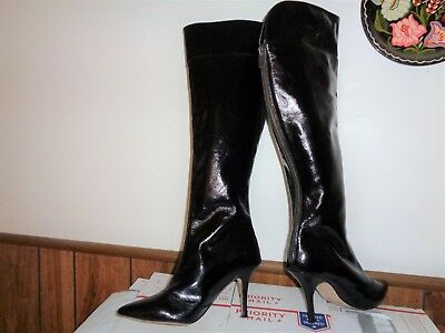 White House Black Market Over the Knee Leather Boots LEE Black Size 8 1/2 Heels