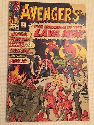 Avengers #5 Lava Men Marvel Comic 1964