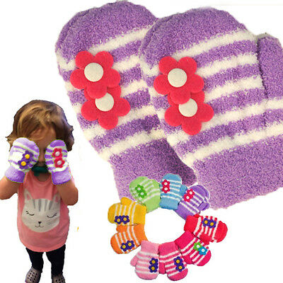 10PC LOT Purple Girls Toddler Soft Stretchy Micro-Fleece Mittens Striped Flower