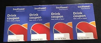 @@@@@@@@@@@ 4 (Four) Southwest Airlines Drink Coupons Expiration Date 9/30/19