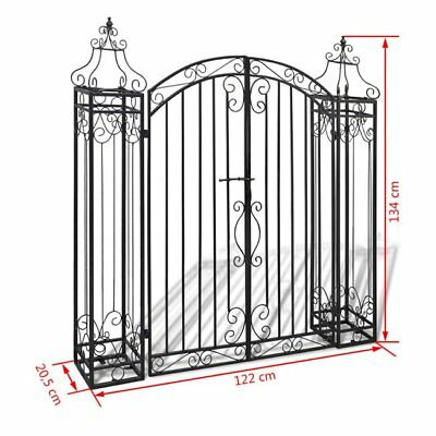 Vintage Ornamental Garden Entry Gate Wrought Iron Arch Door Outdoor Patio US
