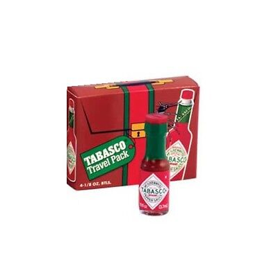 Tabasco Sauce Travel Pack (4 Individual Mini 1/8 Ounce Real Glass Tiny Bottles)