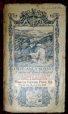"Ordnance Survey 1"":1 Mile Linen Backed Popular Ed.map - Torquay & Dartmouth 1919"