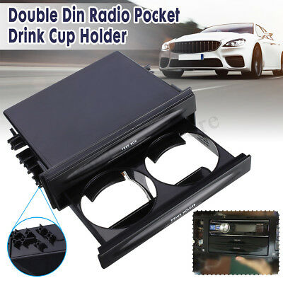 Universal Double Din Radio Pocket Kit w/ Drink-Cup Holder Storage Box Car Auto