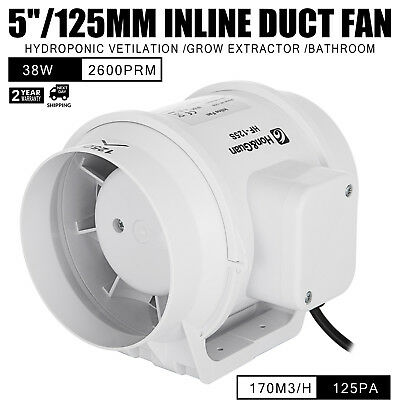 5in Inline Duct Fan Hydroponic Ventilation Blower kitchen Grow Extractor Booster