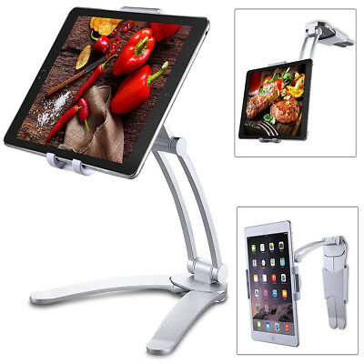 Wall Mount Holder 2in1 Kitchen Desk Tablet Stand 360°Rotating for iPad Surface