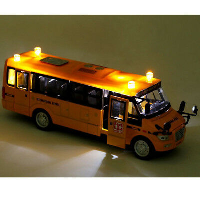 1PCS Music Sound & LED Light Alloy School Bus Pull Back Action w/ openable Doors