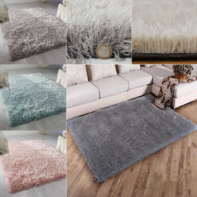 THICK MODERN SPARKLE 6cm HIGH PILE PLAIN SOFT NON-SHED SHAGGY RUG FLOOR AREA MAT