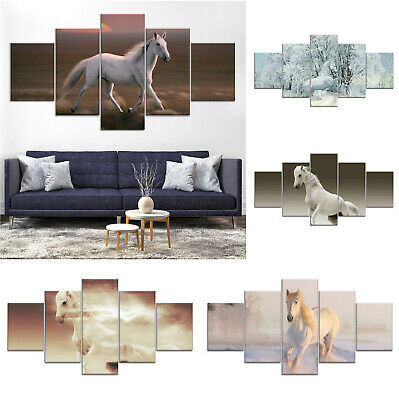 White Horse Animal Canvas Print Painting Framed Home Decor Wall Art Poster 5Pcs