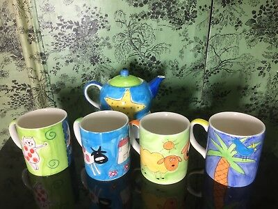 Hand Painted Teapot and Four Mugs by Whittard
