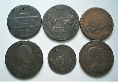 Group of 6  18th Century copper tokens. Good/Fine condition 1790s,[R090]