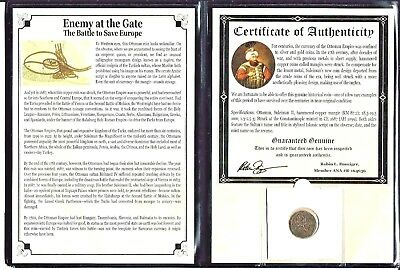 Ottoman Empire Mangir Coin,Enemy At The Gate,16th Century, Album & Certificate