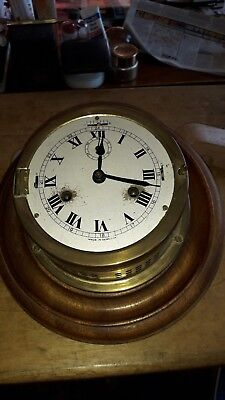 Ships Clock Brass Strikes The Watches On A Bell,work, Fair Condition  No Glass