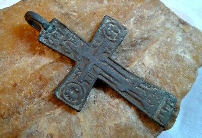"""Rare Antique 18-19 Century """"old Believers"""" Orthodox """"skull"""" Larger Footed Cross"""