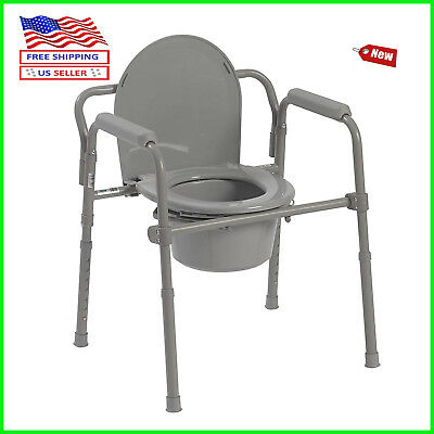 Drive Medical Steel Folding Bedside Commode Powder Coated 350lb Grey 2D Shipping