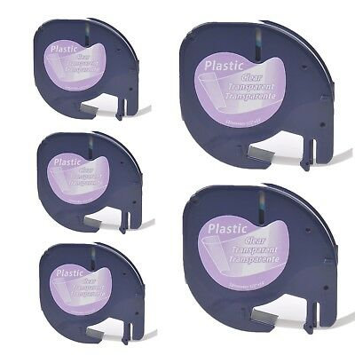 5PK 12267 Platic Tape for DYMO LetraTag Black on Clear S0721530 Label Makers