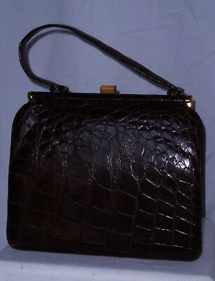 "Healthy Size 9"" by11"" Genuine Brown Crocodile 1940's Grab Bag~Mint Condition"