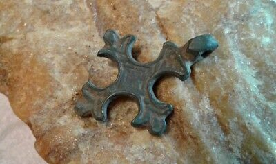 "ANTIQUE 12-15th CENTURY RUSSIAN ORTHODOX SMALL BRONZE CROSS ""FLEUR-DE-LIS"" #2"