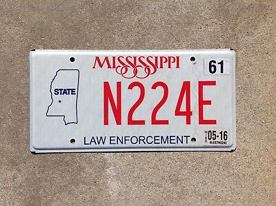 "Mississippi - ""law Enforcement"" - License Plate - State Police"