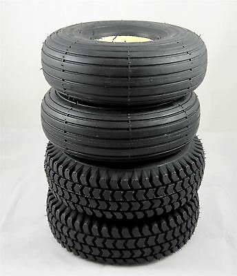 Set of 4 Black Solid 3.00-4 300x4 Scooter Tyres (2 Block 2 Rib Tread) (260x85)