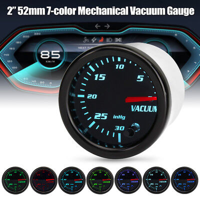 2'' 52mm Universal Coche 7 Color LED Medidor  Turbo Boost Presión Vacío Gauge