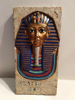 Painted Stone King Tut Mask Ancient Egyptian Wall Decor Sculpture