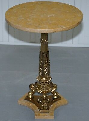 Stunning Neoclassical French Marble Side Table Brass Column Pillared Paw Legs