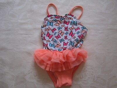 Butterfly pattern swimsuit, tutu style netting skirt,age 3-6 mths, exc condition