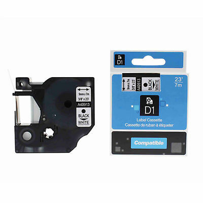 """1PK 9mm x7m 40913 Black on White Label Tape Compatible For DYMO D1 3/8"""" x 23' ST"""