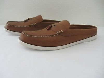 342eb34e293 LL Bean Slide Slip On Loafers Brown Leather Womens Size 10 Boat Shoes  Topsiders
