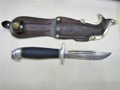 Vtg Fixed Blade Finland Knife~Etching On Blade~Leather Finland Sheath~Nice