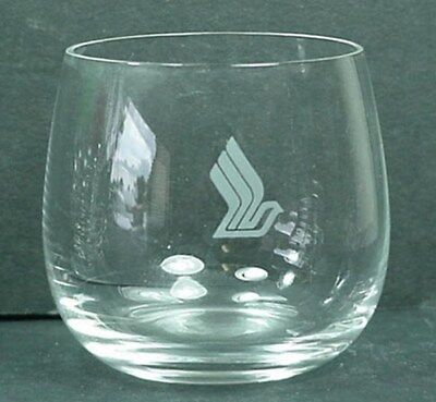 "Singapore Airlines Small Logo Drinking Glass 2 3/8"" Tall, 2"" Diameter s"