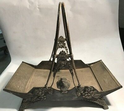 Antique Meriden Quadruple Plate BIRD Calling Card Caddy Tray  Not Perfect