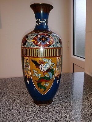 VINTAGE  LARGE CLOISONNE VASE 32cm tall Chinese or Japanese ?