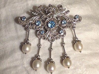 Sterling Blue Topaz Pearl Drop Marcasite Pin Pendant Pearl Enhancer *great Gift