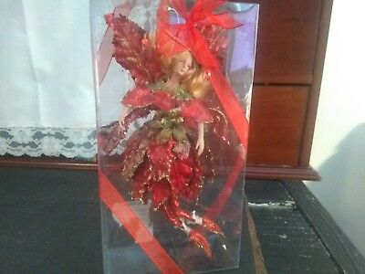 Nwt  Flying Red  Fairy Angel Ornament Flowers Glitter