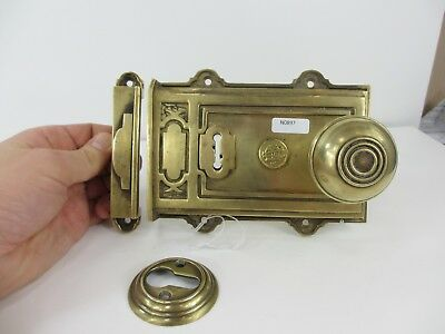 Victorian Brass Door Lock Antique Knobs Handle Escutcheon Old Keep B.A&Co NO KEY