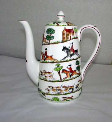 Crown Staffordshire Hunting Scene Large Coffee Pot Fine Bone China England