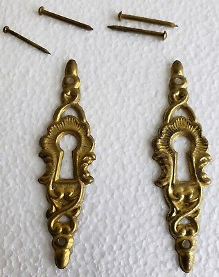 Pair Of Vintage Stamped Brass Keyhole Covers Escutcheons 1/4 X 2 1/4 (N15)