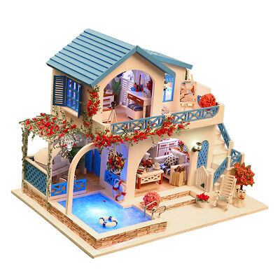 1:24 DIY Dollhouse Miniature Wooden Dolls House Kit - Sidi Bou Said Town