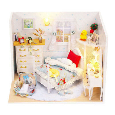 DIY Wooden Dolls House Miniature Kit LED Bedroom with Bed Cabinet Dresser