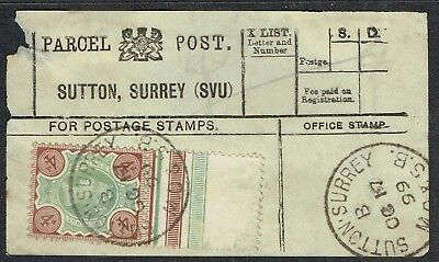 1899 Parcel Post label Sutton Surrey with 4d Jubilee with selvedge