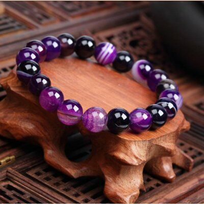 Fashion Natural Stone Love Purple Agate Bead Bracelet Vintage Charm Jewelry Gift
