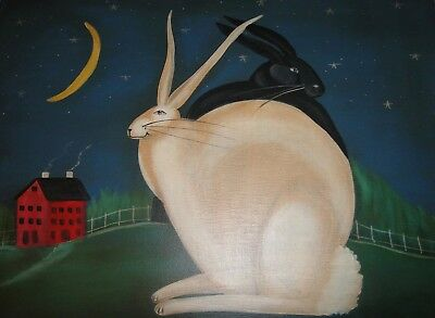 Original OIL PAINTING French Country BLACK WHITE Bunny RABBITS Moon Signed